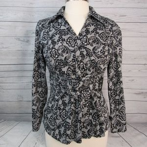 Fred David Blouse V Neck Black Paisley